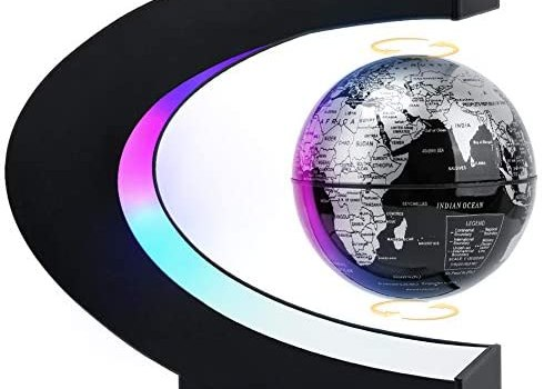MOKOQI Magnetic Levitating Globe with LED Light, Cool Tech Gift for Men Father Boys, Birthday Gifts for Kids, Floating Globes World Desk Gadget Decor in Office Home/Display Frame Stand