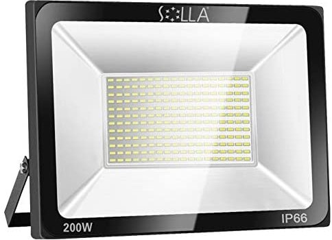 SOLLA 200W LED Flood Light, IP66 Waterproof, 16000lm, 1060W Equivalent, Super Bright Outdoor Security Lights, 3000K Warm White, Floodlight Landscape Wall Lights