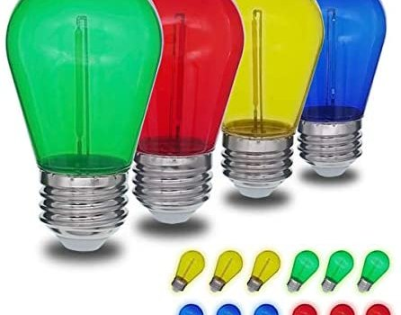 JSLINTER Colored String LED Light Bulbs – 1 watt Plastic Outdoor Indoor S14 Bulbs for Christmas String Light Replacement – Shatterproof – E26 Base – 16Pack – Red/Blue/Yellow/Green