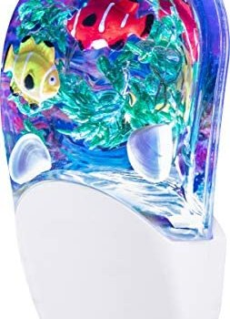 Jasco Tropical Aqualites LED Night, Plug-in, Color Changing, Light Sensing, Auto On/Off, Energy Efficient, Features Soothing Oceanic Image of Coral Reef and Clown Fish, 10908