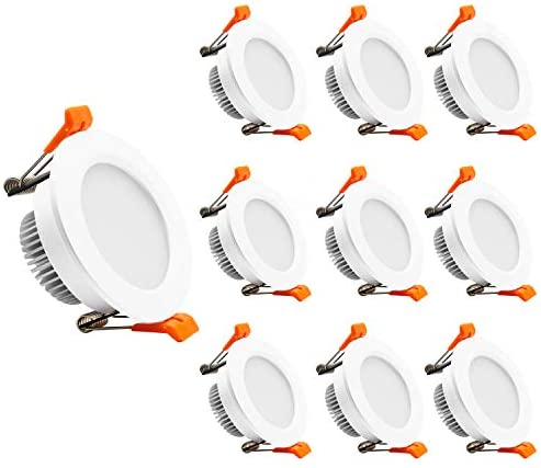 YGS-Tech 2 Inch LED Recessed Lighting Dimmable Downlight, 3W(35W Halogen Equivalent), 5000K Daylight White, CRI80, LED Ceiling Light with LED Driver (10 Pack)