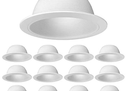 [12-Pack] PROCURU 6″ Metal Recessed Can Light Trim Cover, Step Baffle with Ring, White