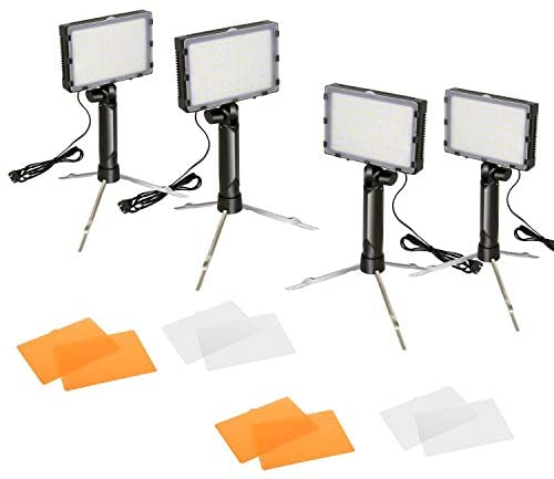 FUDESY Portable Continuous Photography Lighting Kit for Table Top Photo Video Studio Light Lamp, 60 LED Panel Light with Color Filters -4 Sets,FDS60DL4