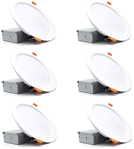 6.5/7 Inch Dimmable LED Recessed Downlight with Junction Box, 110V 16W 1280lm, 3000K Warm White, CRI 80 with LED Driver, No Can Needed, Retrofit Lighting for Home, 6 Pack