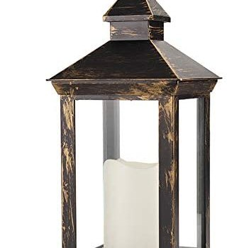 Bright Zeal 14 Inch Outdoor Lanterns With LED Candles And Timer – IP44 Waterproof Distressed Bronze Decorative Outdoor Lanterns Battery Powered – Indoor LED Lanterns Battery Operated For Wedding Table
