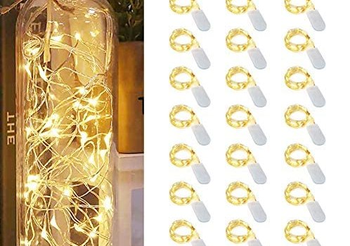 PAPRMA 24 Pack Fairy Lights Battery Operated,6.5 Ft 30 Micro Led Silver Wire Warm White Firefly Lights,Waterproof Mini String Lights Moon Lights for DIY Wedding Bedroom Indoor Party Decoration (24)