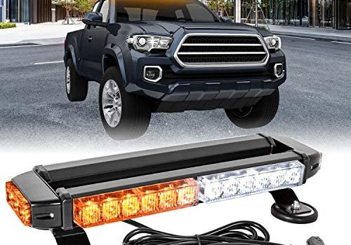 Zmoon LED Strobe Flashing Light Bar -30 LED High Intensity Emergency Hazard Warning Lighting Bar/Beacon/with Magnetic Base and 16 ft Straight Cord for Car Trailer Roof Safety (Amber/White)