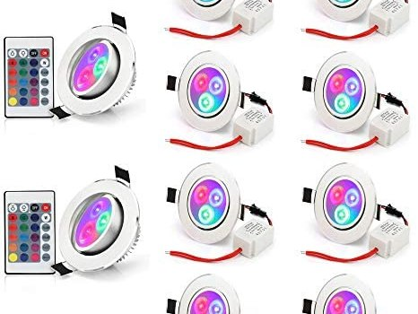 Pack of 10 LED Color Changing Recessed Lighting 3W RGB Downlight Ceiling Light with Remote Control