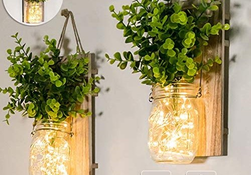 Mason Jar Sconces, Home Decoration, Rustic Wall Sconces, LED Fairy Lights, Green Fake Plant, Interior Decoration Warm Toned Lighting.(2 Pack)