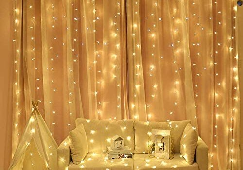 Neretva LED Curtain Lights,19.68×9.84FT,600 LED,8 Modes Plug in Twinkle Lights,Indoor Outdoor Decorative Wall Window String Lights for Wedding Party Wall Christmas Decoration(Warm White)