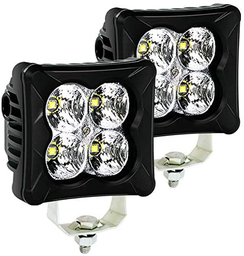 4WDKING LED Pods Flood Light Bar 2PCS 40W LED Off Road Work Light Truck Fog Lamp Tail Light IP69K Waterproof ATV Cube Lights Compatible for Ford F150 Polaris RZR Jeep Wrangler
