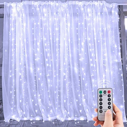 Brightown Window Curtain Lights, 300 Led 9.8 Ft Dimmable & Connectable, Remote to Set 8 Lighting Modes&Timer, led Lights for Bedroom Wall Wedding Decorate String Lights, Pure White(No Curtain)
