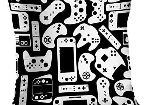 Decorative Pillows 18 x 18 inch Throw Pillow Covers,Video Games Controller Pad Gamers Pattern Double-Sided Decorative Home Decor Indoor/Outdoor Garden Sofa Bedroom Car Kitchen Nice Gift
