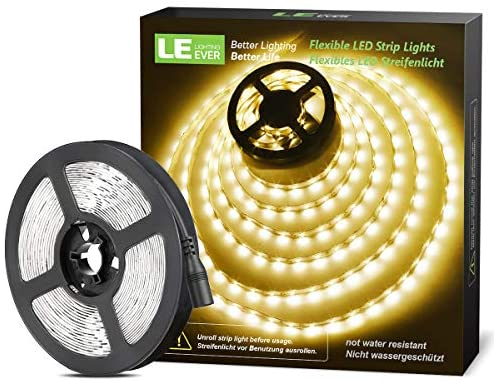 LE 12V LED Strip Light, Flexible, SMD 2835, 16.4ft Tape Light for Home, Kitchen, Party, Christmas and More, Non-Waterproof, Warm White(Not Include Power Adapter)