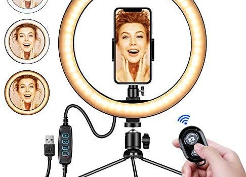 10″ LED Ring Light with Tripod Stand and Phone Holder for Selfie,Live Streaming & YouTube Video, Dimmable Desk Makeup Ring Light for Photography, Shooting with 3 Light Modes and 10 Brightness Level