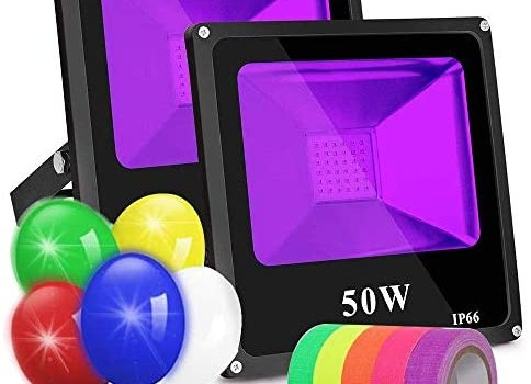 Black Lights for Parties, 2 Pack 50W Led Flood Light Blacklight Ultraviolet Lamp, for Fluorescent Neon Glow in The Dark, Halloween Christmas Decorations, DJ Disco Stage Night Club, Body Paint