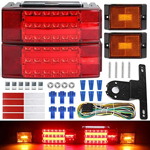 LINKITOM 2019 New Submersible LED Trailer Light Kit, Super Bright Brake Stop Turn Tail License Lights for Camper Truck RV Boat Snowmobile Under 80″ Inch