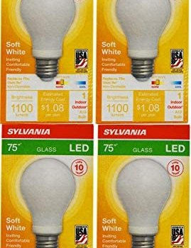 Set of 4 Sylvania High Definition LED Bulbs – 75w Replacement (Uses 9w) – 1100 Lumens – 2700 Kelvin – A19 – Non-Dimmable (4 Pack)