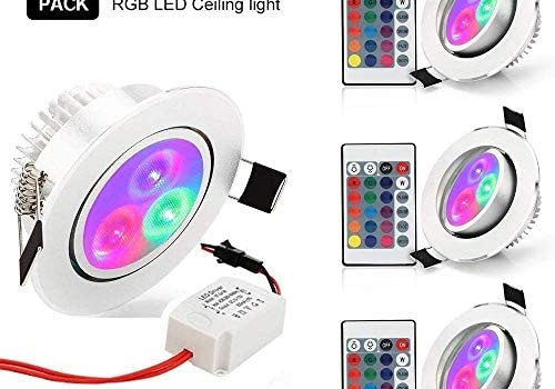 Color Changing Recessed Lighting, Derlights 5W RGB Recessed Ceiling Light with Remote Control, LED Downlight for Retrofit Fixture Home Stage Party Decor – [Pack of 4]