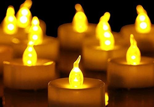 Tea Lights,50 Pack Flameless LED Tealight Candles,Realistic Flickering Warm Yellow Bulb Battery Operated LED Tea Lights Candles. Ideal for Parties, Weddings, Birthdays, Festival Celebration