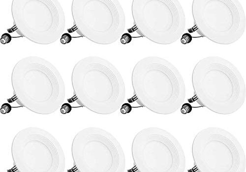 BBounder LED Recessed Lighting 4 Inch 12Pack, Dimmable, Damp Rated, LED Downlight with Baffle Trim, 9W=60W 650LM 5000K Can Lights, Simple Retrofit Installation – UL + Energy Star