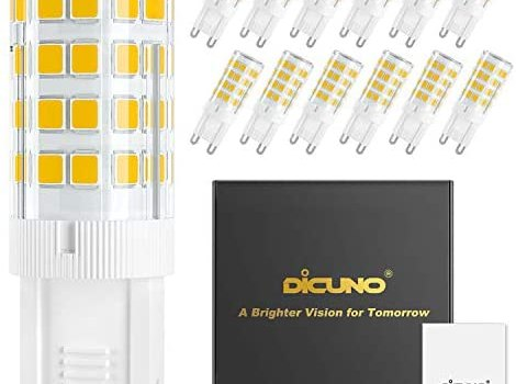DiCUNO G9 LED Ceramic Base Light Bulbs, 4W (40W Halogen Equivalent), 400LM, Warm White (3000K), G9 Base, G9 Bulbs Non-Dimmable for Home Lighting, 12-Pack