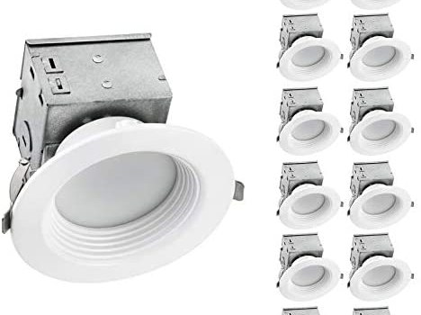 OSTWIN LED Recessed Lighting 4 inch Canless Dimmable IC Rated Downlight with J-Box-Baffle Trim Recessed Ceiling Light-Wet Rated-10W (75W Eq)-4000K(Bright White)-800Lm-ETL & Energy Star Listed-12-PACK