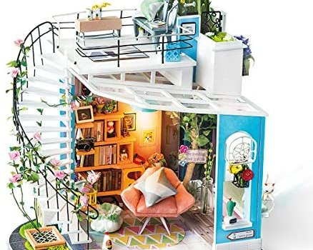 ROBOTIME DIY Miniature Dollhouse Kit – 1:24 Scale Dollhouse Room Kit with LED Light – DIY House Kit with Furniture Best Birthday for Women and Men