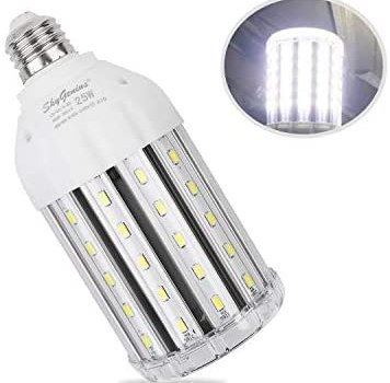 25W Daylight LED Corn Light Bulb for Indoor Outdoor Large Area – E26 2500Lm 6500K Cool White,for Street Lamp Post Lighting Garage Factory Warehouse High Bay Barn Porch Backyard Garden Super Bright