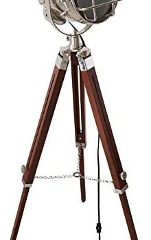 Vintage Royal Maritime Searchlight Silver Finish with Wooden Adjustable Tripod LED Floor Lamp Home Decorative
