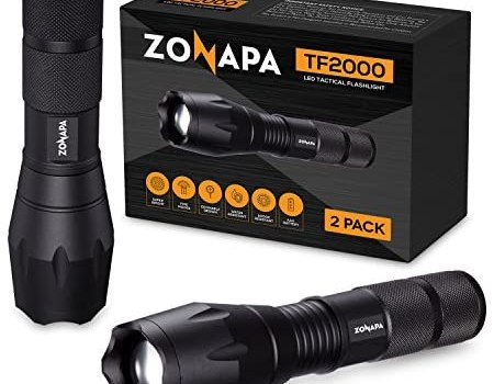 ZONAPA Tactical LED Flashlight (2-Pack) High Lumens, 5 Ultra-Bright Lighting Modes Strobe, SOS | Indoor, Outdoor Emergency, Camping, Hiking, Security | Waterproof, Zoomable