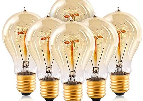 Edison Light Bulbs,HESSION A19 40w Vintage Antique Tungsten Filament Bulbs,E26 Base Edison Bulbs, Decorative Light Bulb Dimmable 110V Amber Glass(6 Pack)