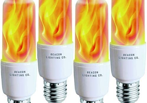 Flickering LED Flame Light Bulbs E26 LED Bulb with Gravity Sensor Flame Night Bulb for Home Hotel Bar Party Decoration – 4 Pack