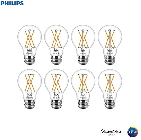 Philips LED 536532 Dimmable A19 Clear X-Filament Glass Light Bulb with Warm Glow Effect: 800-Lumens, 2700-Kelvin, 8 (60-Watt Equivalent), Soft White, E26 Medium Screw Base, 8 Pack, 8 Piece