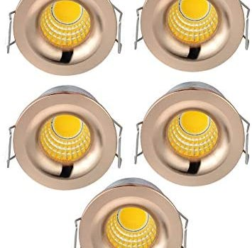 INHDBOX 5 Pack 3W Mini COB Recessed Ceiling Downlight Kit Warm White – Rose Gold Aluminum Light Cover & PC Mirror with LED Driver-Warm Light