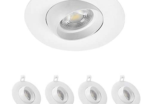 4Pack 4 Inch LED Recessed Down Light Eyeball Trim 30°Adjustable Gimbal Dimmable 120V 12W 1000LM 100W Equivalent 5000K Daylight White 38° Beam Angle Energy Star ETL Listed