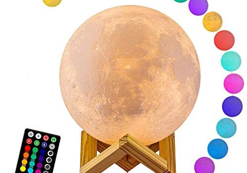 Moon Lamp, LOGROTATE 16 Colors LED 3D Print Moon Light with Stand & Remote&Touch Control and USB Rechargeable, Moon Light Lamps for Kids Friends Lover Birthday Gifts(Diameter 4.8 INCH)