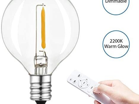 Keymit G40 LED Dimmable Outdoor String Lights Bulb – Edison Vintage Warm Glow 1W 2200K Globe Small Clear Glass Bulb for Patio Bistro Garden Party 25Pack