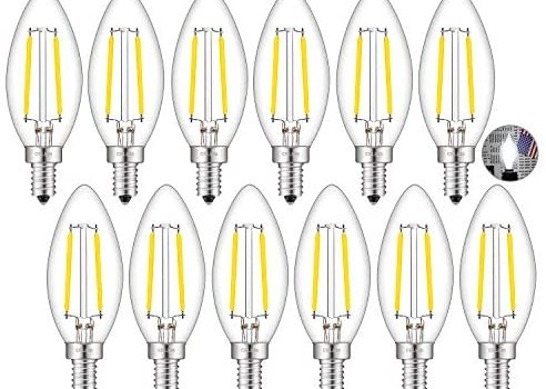 CRLight LED Candelabra Bulb 5000K Daylight White, 25W Equivalent 250 Lumens, 2W Filament LED Chandelier Light Bulbs, E12 Base Vintage Edison B11 Clear Glass Candle Bulbs, Non-dimmable Version, 12 Pack