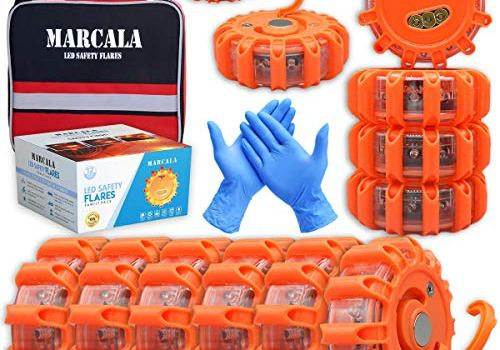 MARCALA Emergency Flares for Cars | 12-Pack Roadside Safety Discs | LED Safety Flare Emergency Lights | The only Complete Safety Disc Kit w/ 2 Bonus Items! | Feel Safer on The Road!!