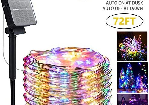 Solar String Lights Automatic Switch,8 Modes 200 LED 72ft Solar Powered Waterproof Fairy String Copper Wire Lights for Christmas, Bedroom, Patio, Wedding, Party,Outdoor Decorative