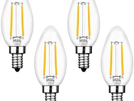 Vintage E12 LED Light Bulbs Dimmable, 2W(25 Watts Equivalent), Warm White 2700K, AIELIT B11 Torpedo LED Candelabra Bulb for Bedroom Hotel Bedside Table Lamp Wall Sconces Lanterns Dome Pendant, 4-Pack