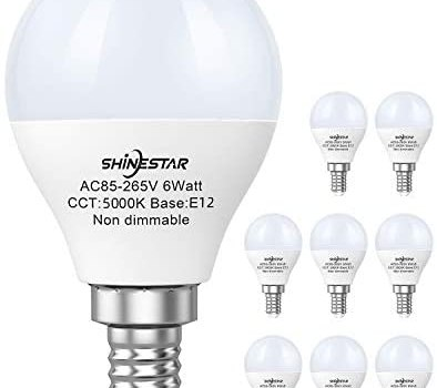 8-Pack Ceiling Fan Light Bulbs 120V 60W, 5000K Daylight E12 Candelabra LED Light Bulbs Small Base, A15 Shape Round Bulb, Non-dimmable