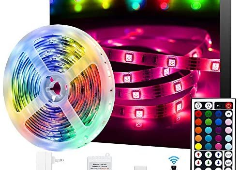 Ksipze LED Strip Lights 16.4ft RGB Color Changing 5050 Flexible Strip Lights with 44 Keys Remote Controller and 12V Power Supply LED Lights for Bedroom TV Home Lighting Room Decoration