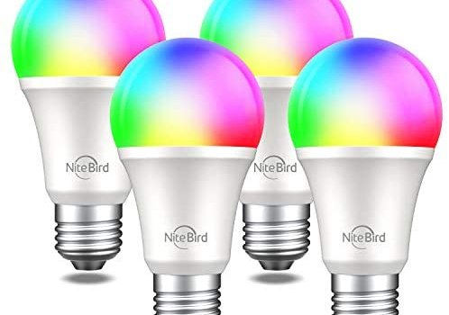 NiteBird Smart Light Bulbs Works with Alexa Echo Google Home and Siri, WiFi RGB Color Changing Dimmable LED Lights Bulbs, A19 E26 8W Warm White 2700k, 75W Equivalent, No Hub Required,4 Pack