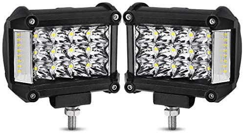 YITAMOTOR Side Shooter LED Light Bar 2Pcs 4Inch 76W Cube LED Work Light Spot Flood Combo Light Pods Offroad Driving Fog Lamp for Truck Tractor Car ATV SUV Boat, 2 Years Warranty