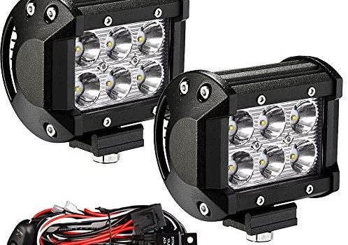 YITAMOTOR Led Light Bar 2PCS 4 inches 18W Square LED Work Light Bar Spot Led Pod light LED with Wiring Harness Waterproof for Jeep SUV Truck Car ATVs 4×4 4WD Boat Off road Driving Light 12V 24V