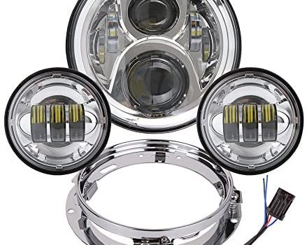 7 Inch LED Headlight with 4.5 Inch Matching Passing Lights for Harley Davidson Classic Electra Street Glide Fat Boy Road King Heritage Softail with Bracket Mounting Ring Motorcycle Headlamps