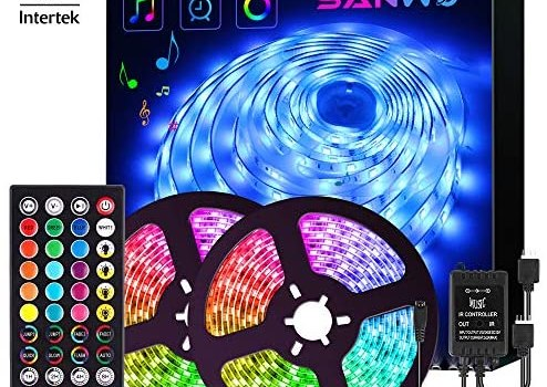 LED Strip Lights with Remote – 32.8ft RGB LED Light Strip Music Sync for Room Lighting, 12V SMD 5050 Color Changing Tape Lights kit with LED Controller, Flexible Waterproof LED Strip for Home Kitchen