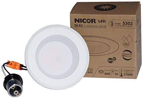 NICOR Lighting 3 inch White Dimmable LED Recessed Downlight 4000K (DLR3-10-120-4K-WH-BF)